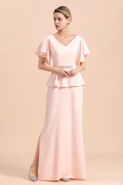 Glamorous V-Neck Beadings Sash Pink Mother of Bride Dresses_6