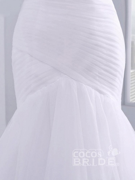 Affordable Ruffle Tulle Strapless Mermaid Wedding Dresses_4