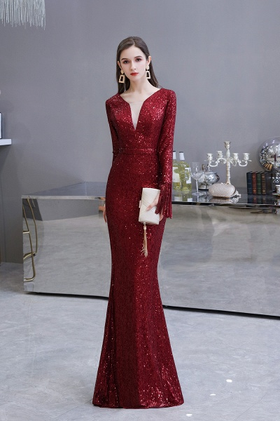 Gorgeous Sequins Long Sleeve V-Neck Mermaid Evening Gowns_3