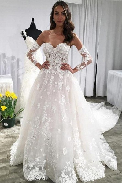 Unique Sweetheart Puffy Lace Appliqued Backless Beach Wedding Dress_1