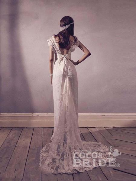 Gorgeous V-Neck Cap Sleeves Lace A-Line Wedding Dresses_2