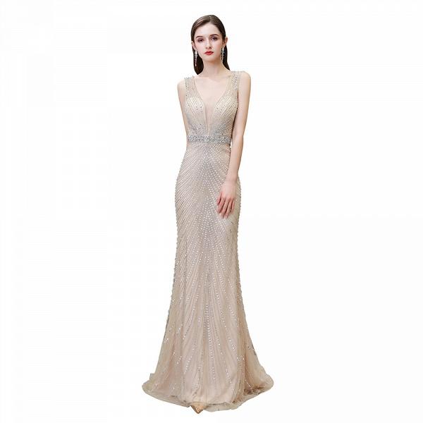 Sexy Mermaid V-neck Silver Long Prom Dress_29
