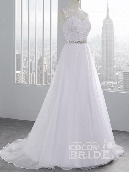 Cheap Jewel Lace A-Line Wedding Dresses_7