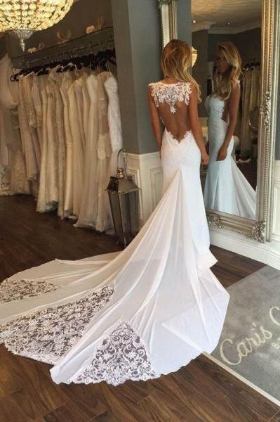 Pretty Sheath Sleeveless Long Beach with Lace Wedding Dress_1