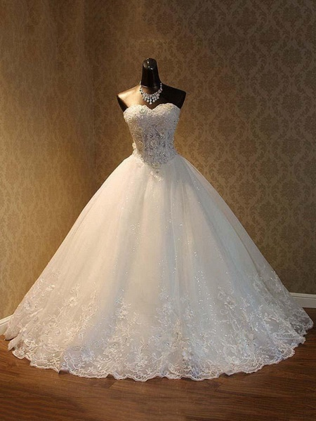 Popular Luxury Lace Ball Gowns Beaded Wedding Dresses_1