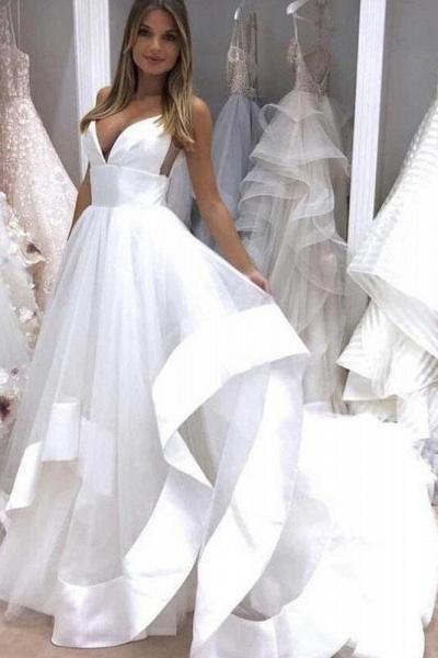 White Sapghetti Straps Beach Dress Sexy Simple Boho Wedding Dresss_1