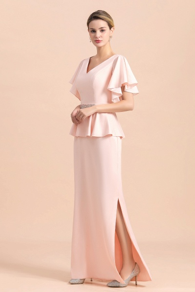 Glamorous V-Neck Beadings Sash Pink Mother of Bride Dresses_8