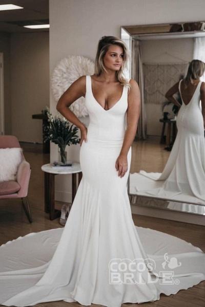 Simple V Neck Mermaid with Long Train Sexy Backless Beach Wedding Dress_3