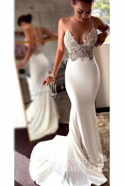 Sexy Spaghetti Straps Mermaid Long Beach Wedding Dress with Lace_3
