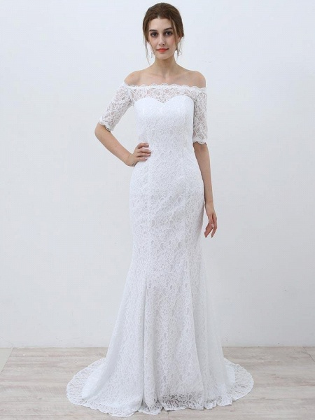 Elegant Half-Sleeves Lace Mermaid Wedding Dresses_1
