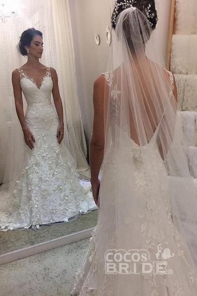 Ivory V Neck Sheath Sleeveless Backless Charming Lace Wedding Dress_2