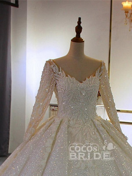 Classical V Neck Long Sleeve Ball Gown Wedding Dresses_3