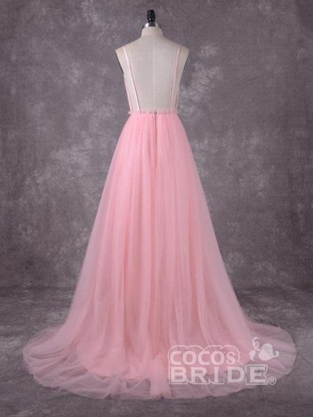 Gorgeous V-Neck Backless Tulle Wedding Dresses_2