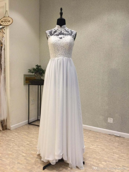 High Neck Chiffon A-Line Wedding Dresses Lace Button_1