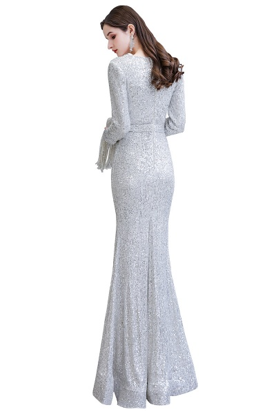 Gorgeous Sequins Long Sleeve V-Neck Mermaid Evening Gowns_30