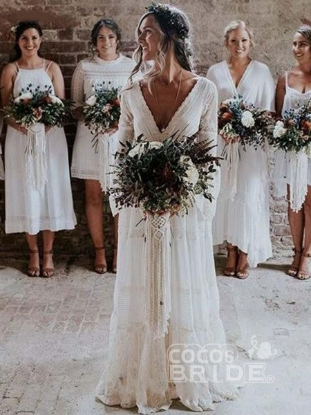 Elegant Long Sleeves V-Neck Tulle Wedding Dresses_5