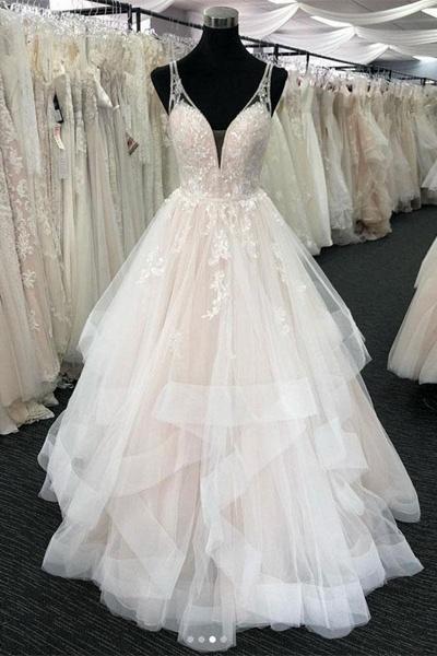 White Tulle V Neck Open Back Long Layered  Wedding Dress_1