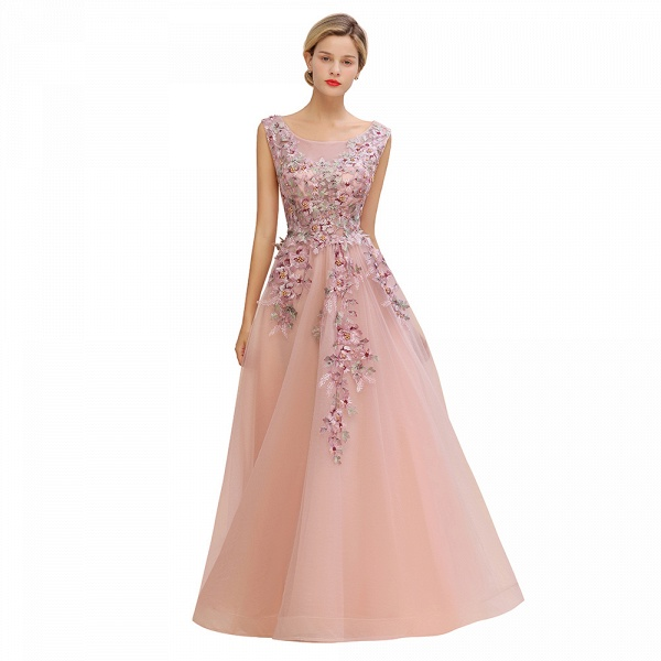 Gorgeous Dusty Pink Tulle Long Lace Appliques Prom Dress_11