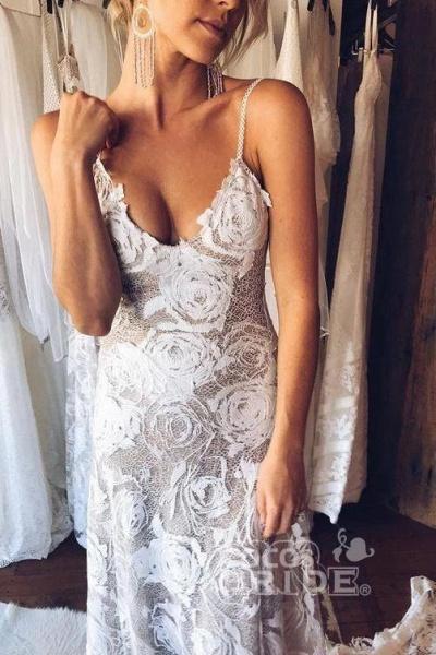 Spaghetti Straps Backless Lace Boho Wedding Dress_3