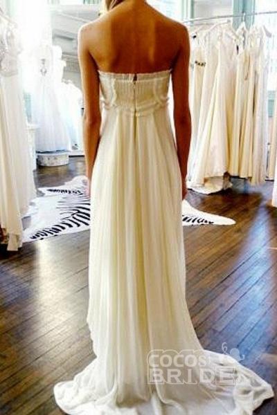 Unique Strapless Sweep Train Zipper Natural Ivory Ruffles Beach Wedding Dress_2