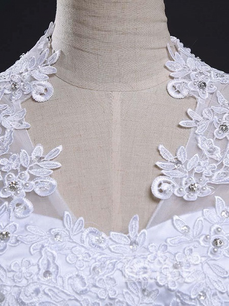 V-Neck Cap Sleeves Ball Gown Lace Wedding Dresses_5