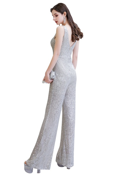 Sexy Shining V-neck Sleeveless Prom Jumpsuit with Silver Sequins_24