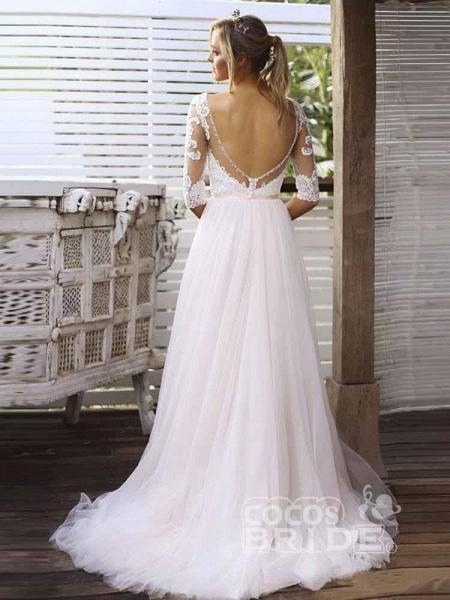 Gorgeous V Neck Long Sleeves Tulle Wedding Dresses_3