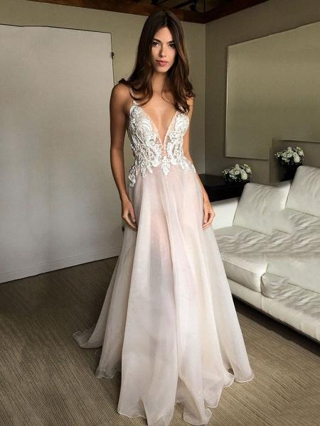 Deep V-neck Spaghetti Straps Lace Appliqued Beach Wedding Dress_1
