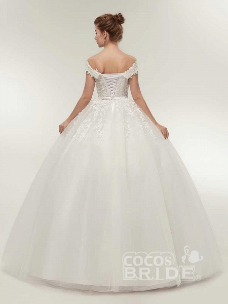Off-the-Shoulder Lace-Up Ball Gown Wedding Dresses_3