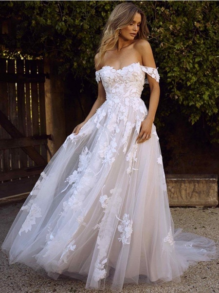Gorgeous Open Back Appliques Tulle A-line Wedding Dresses_1