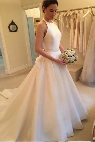 A Line Halter Satin Simple Backless Sleeveless Wedding Dress with Bow_1