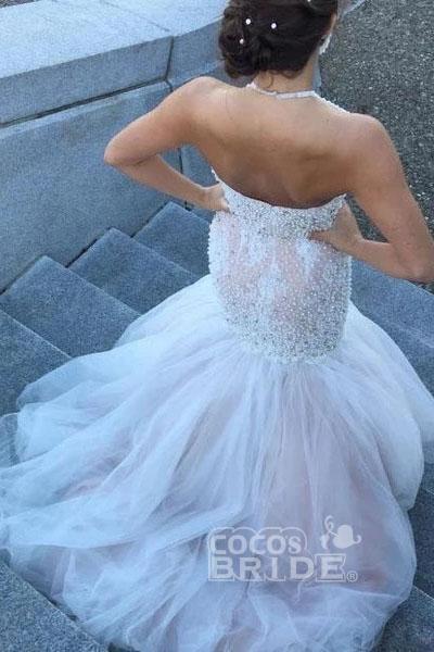 Gorgeous Halter Beading Beaded Backless Mermaid Wedding Dress_2