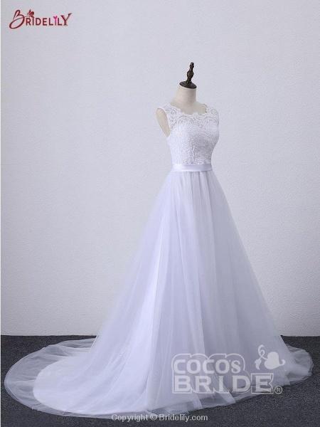 Illlusion A-Line Lace-Up Ribbon Wedding Dresses_3