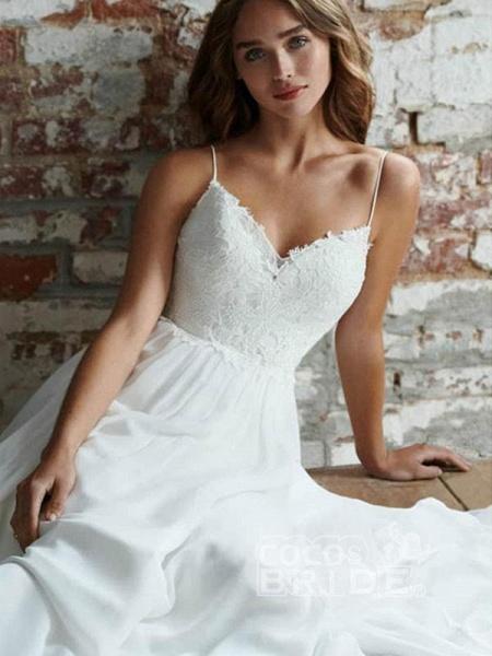 Beautiful Spaghetti Strap Backless Tulle Wedding Dresses_4