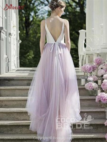 Romantic Spaghetti Strap Tulle Wedding Dresses_3