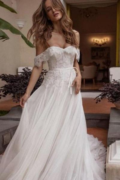 A-line Off Shoulder Beach Lace Boho Wedding Dress_1