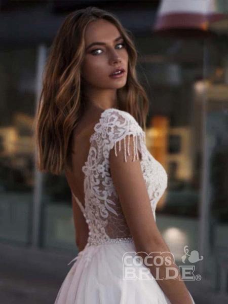 Gorgeous Cap Sleeves Appliques Tulle Wedding Dresses_3