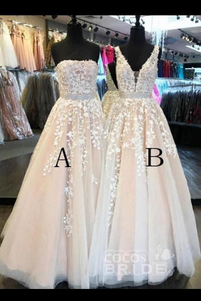 Custom-made Lace Appliques Tulle Long Wedding Dress_2