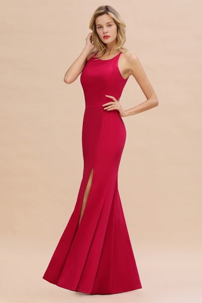 Red Mermaid Halter Prom Dress Long Evening Gowns_3
