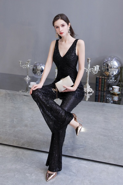 Sexy Shining V-neck Sleeveless Prom Jumpsuit with Silver Sequins_17