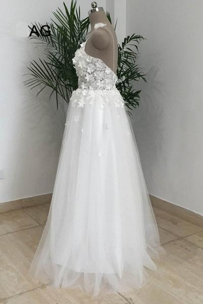 Simple White Tulle V Neck Beach Wedding Dress_3