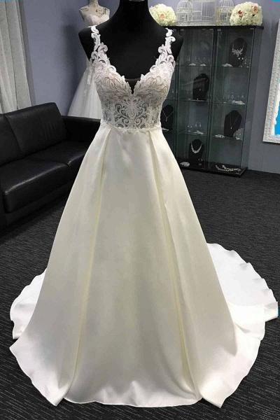 White Satin V Neck Long Halter A-Line Wedding Dress_1