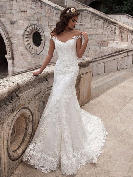 Off-the Shoulder Lace Appliques Covered Button Mermaid Wedding Dresses_1