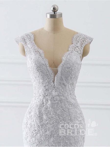 V-Neck Mermaid Lace Wedding Dresses_6