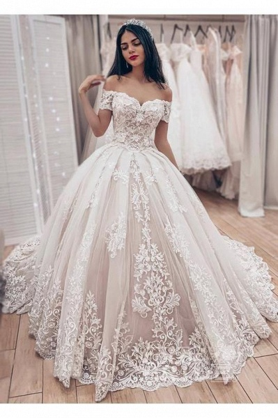 Ball Gown Off the Shoulder with Lace Appliques Gorgeous Wedding Dress_3