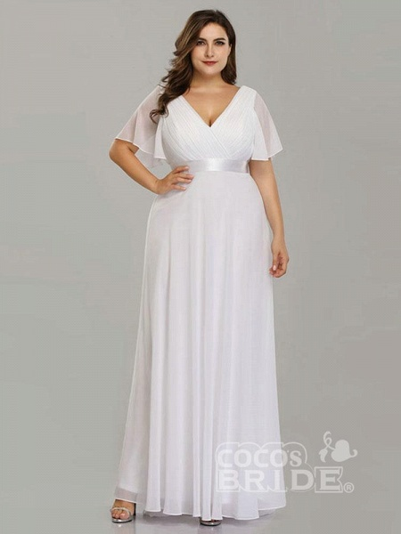 Empire Waist V-neck Half-Sleeves Ruffles Wedding Dresses_4