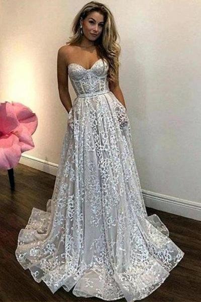 Vintage Ivory Sweetheart Beautiful Cheap Lace Wedding Dress_1