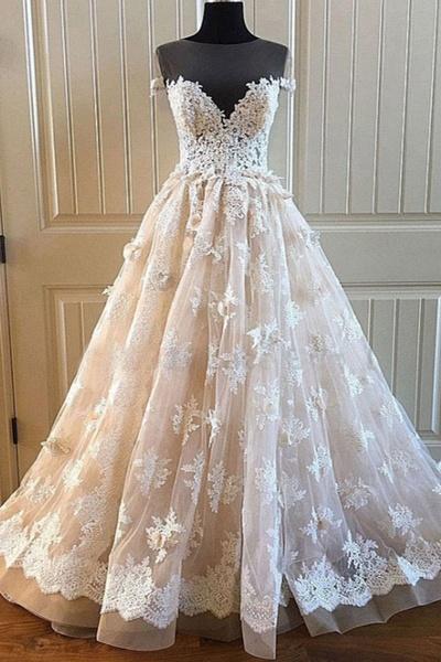 Creamy Lace Sweetheart Long A Line Long Wedding Dress_1