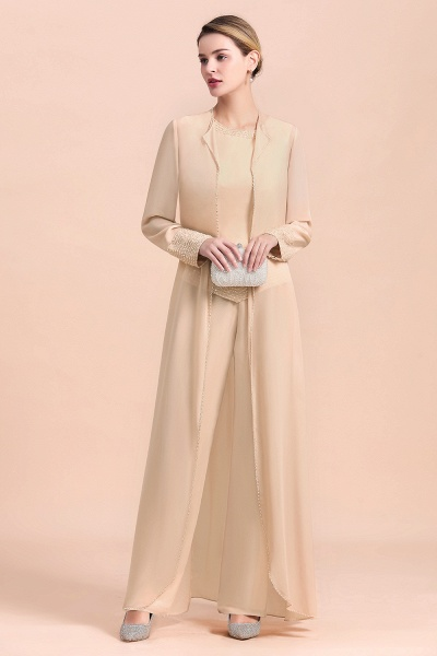 Two Pieces Champagne Long Sleeve Chiffon Mother of the Bride Dress With Jacket_6