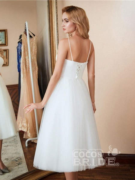 Spaghetti-Strap Lace-Up Tulle Short Wedding Dresses_3
